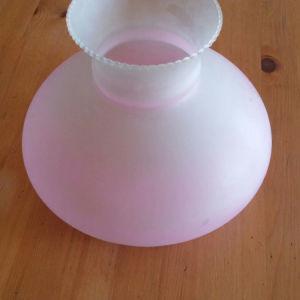 Γυάλινο καπέλο φωτιστικόυ  ροζ 30 ετων