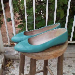 Παπούτσια μπαλαρίνες 40 δέρμα τιρκουάζ πολύ καλή ποιότητα και κατάσταση