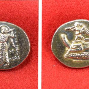 Ασημένιο ΠΙΣΤΟ ΑΝΤΙΓΡΑΦΟ αρχαίο νόμισμα με την θεά Αθηνά (40 ευρώ)