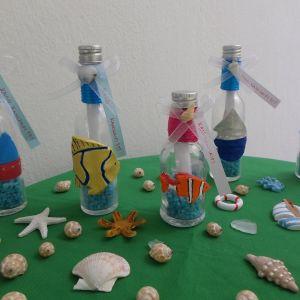 Μπουκαλάκια Μίνι με διάφορα θαλασσινά από πηλό και ζωγραφισμένα αναμνηστικά για τέλος σχολικής  χρονιάς