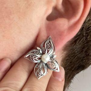 Υπέροχα Μεγάλα Χειροποίητα Ασημένια Σκουλαρίκια. Κοσμήματα Φιλιγκρι. Μαργαριτάρια Γλυκού Νερού